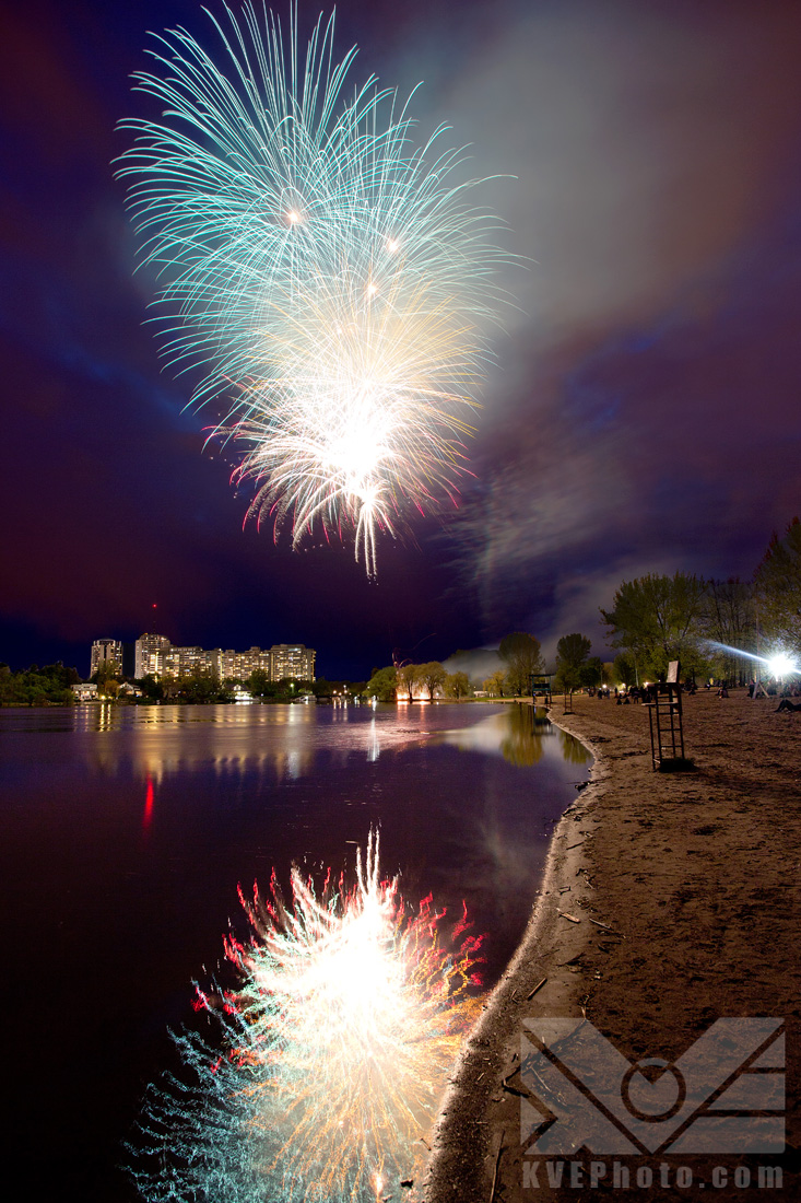 I was lucky enough that the show was just a block or two away from where I live, so I knew where I wanted to take the photos from. I kept a fair distance from where the fireworks were taking off , and made sure to get some reflection from the water, the buildings in the distance and the shore.