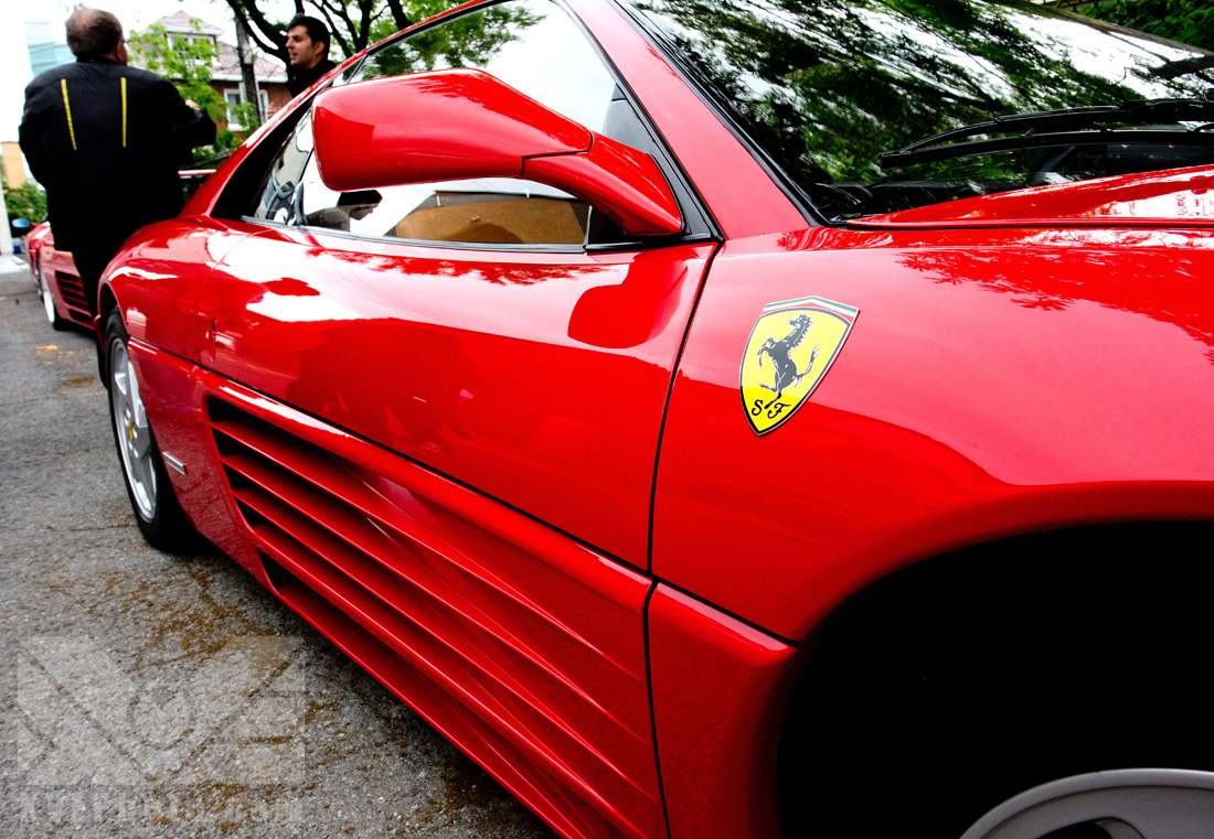 This is what I mean by wide angle. You can get quite a lot in a shot, and focus on interesting details while still getting a lot of the car in there. Here, I focused on the Ferrari badge.